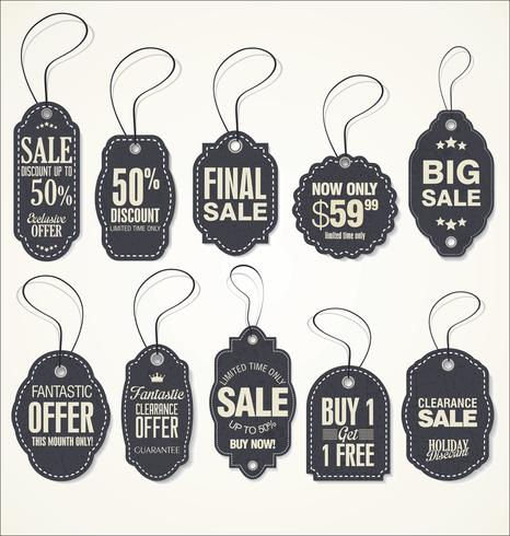 Price tag retro vintage collection vector illustration