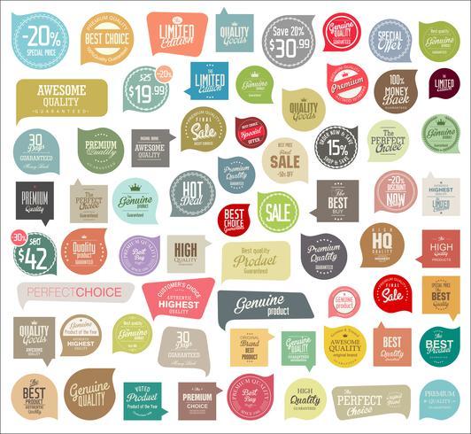 Insignias modernas pegatinas y etiquetas de colección vector