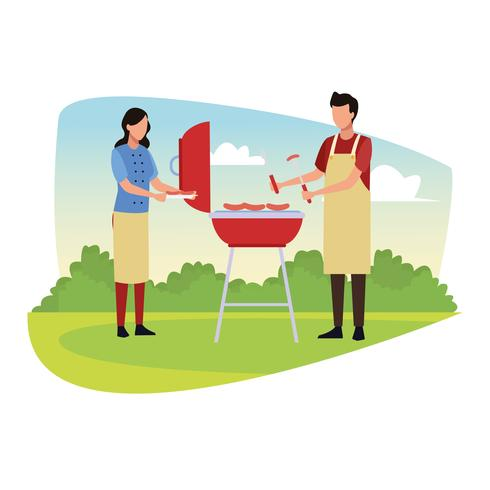 Familie barbecue picknick