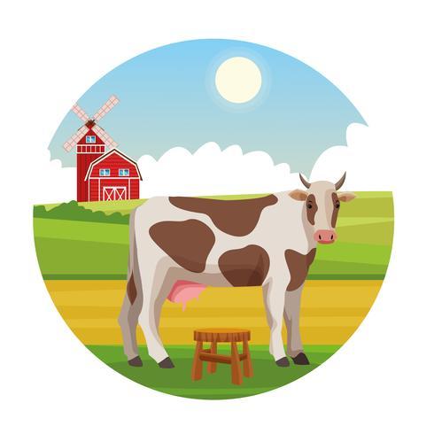 Granja rural de dibujos animados de animales. vector
