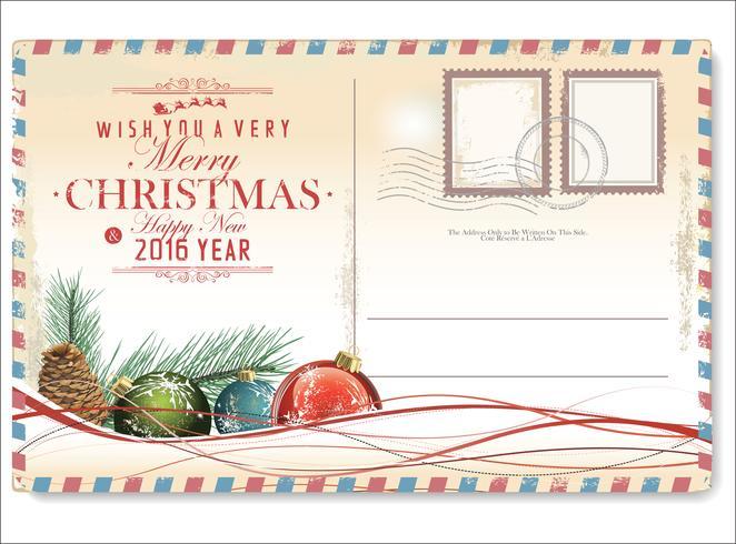 Postal navideña vintage vector