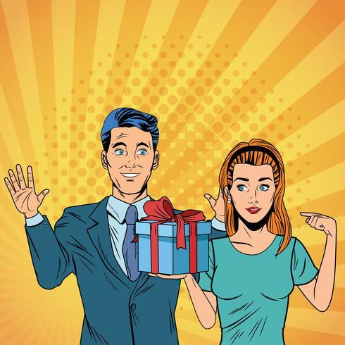Pop art business couple with present cartoon vector