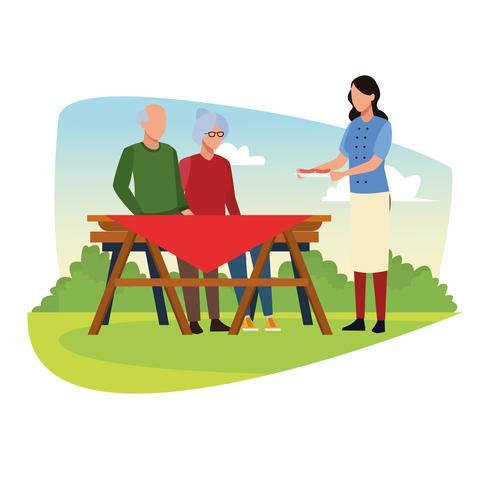 Familj grill picknick