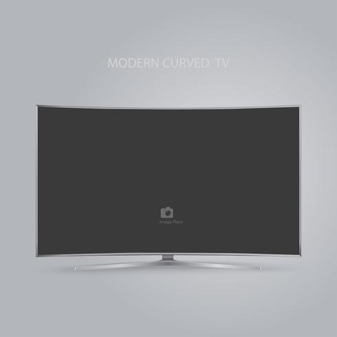 Série de TV HD LED inteligente curvo isolada em fundo cinza