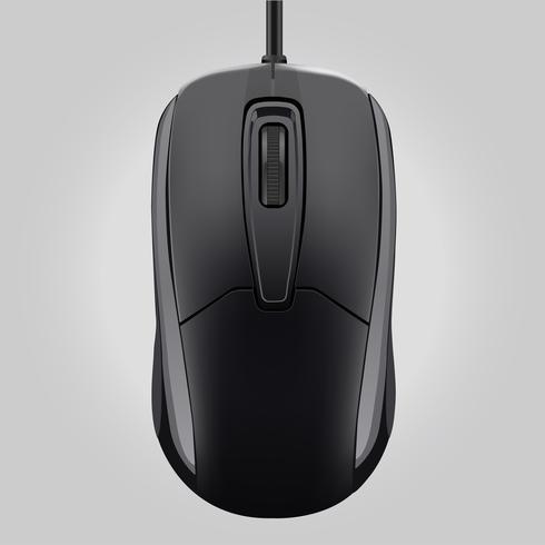 Rato de computador preto com roda isolado na ilustração de fundo-vector cinza