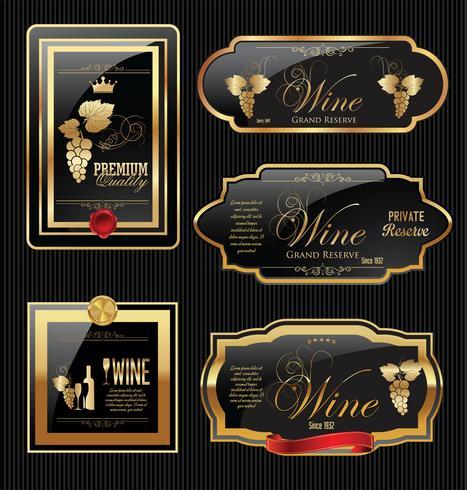Colección de etiquetas de vino de oro vector