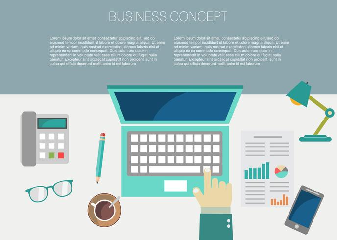 interiör i arbetsplatskonceptet i platt design