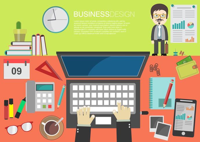 interior do conceito de local de trabalho em design plano