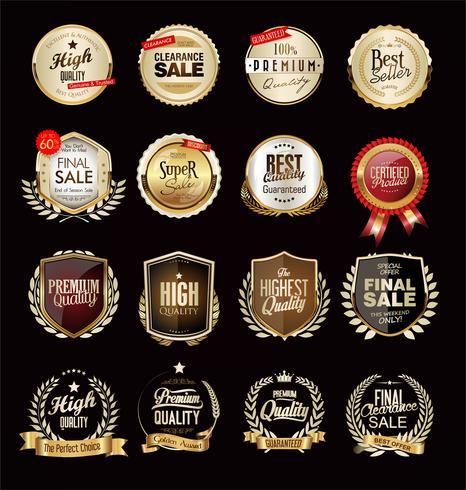 Collection of luxury golden design elements badges labels and laurels vector