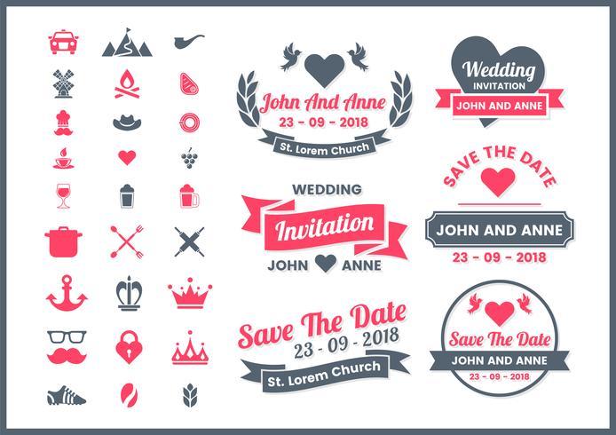 Vetor retrô de casamento para banner