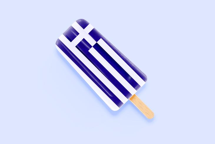 Colorful realistic flag ice cream, vector illustration