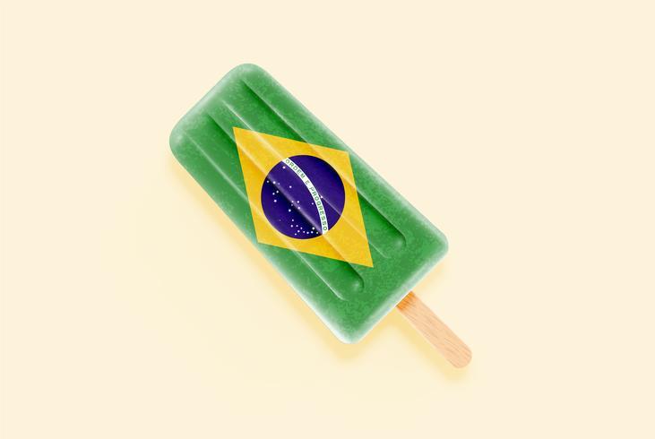 Sorvete de bandeira realista colorido, ilustração vetorial