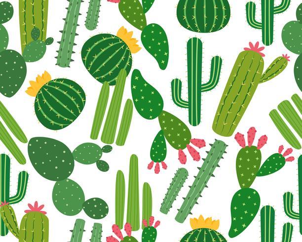 Modello senza cuciture di molti cactus isolato su fondo bianco - Vector l'illustrazione