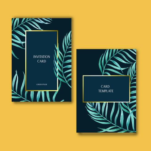Diseño de invitación de tarjeta tropical verano con plantas follaje exótico, creativo acuarela vector ilustración diseño de plantilla