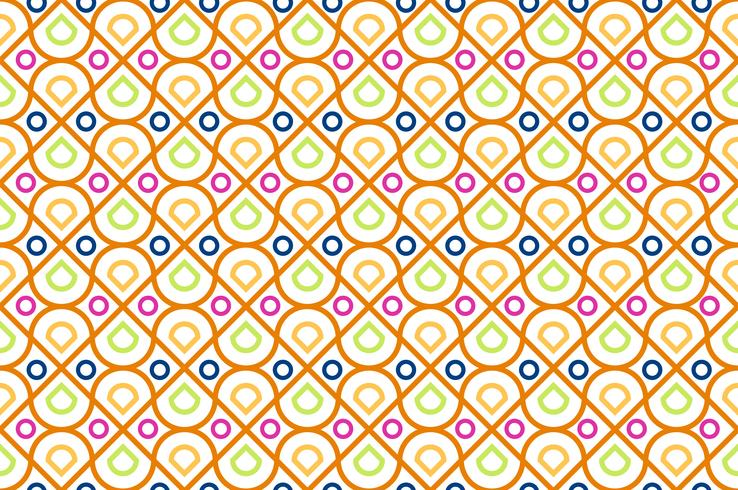 Seamless pattern of colorful geometric and circle modern on white background - Vector illustration