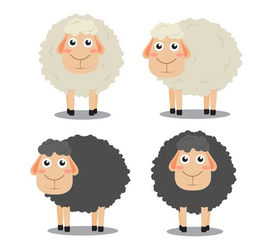 Cute cartoon black and white sheep vector set isolated on white background