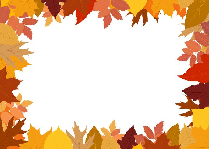Vector illustration of frame made of colorful autumn leaves on white background