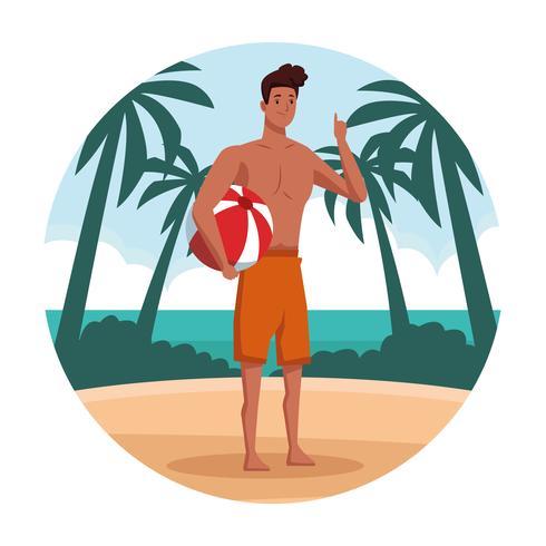 Jonge man op strand cartoon