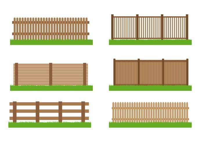 Samling av element för trästaketvektoruppsättning för design som isoleras på vit bakgrund