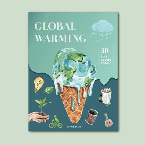 Global uppvärmning och föroreningar. Reklamkampanj för affischreklamblad, spara världsmalldesignen, kreativ design för akvarellvektorillustration