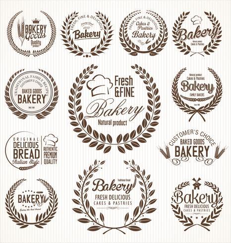 rótulos retrô de padaria