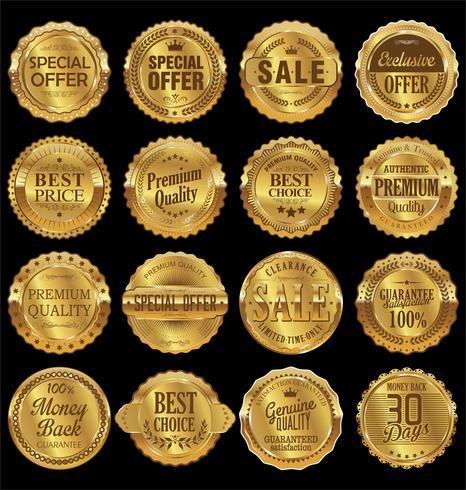Coleção de crachás e etiquetas vintage retrô