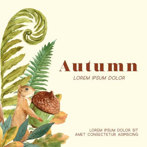 Quadro da estação do outono com folhas e animal. Cartões de outono saudações perfeitos para impressão, convite, modelo, design criativo de ilustração vetorial aquarela