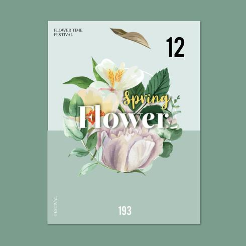 Spring poster fresh flowers, decor card with floral colorful garden, wedding, invitation, watercolor vector illustration design
