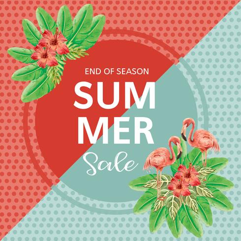 Sommerwerbung Urlaub. fördern Sie auf Verkaufsrabatt. Ferieneinkaufszeit, kreatives Aquarellvektor-Illustrationsdesign