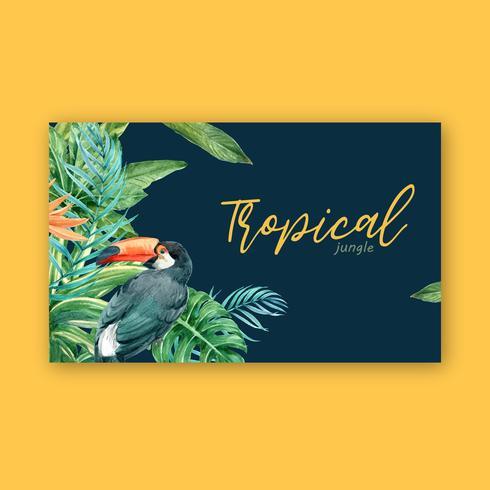 Verano de diseño de borde de marco tropical con follaje de plantas exóticas, diseño de plantilla de ilustración vectorial acuarela creativa vector