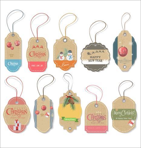 Set of Christmas gift tags vector