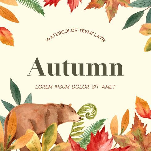 Herfst seizoen frame met bladeren en dieren. De kaarten van de herfstgroeten perfect voor druk, uitnodiging, malplaatje, het creatieve ontwerp van de waterverf vectorillustratie