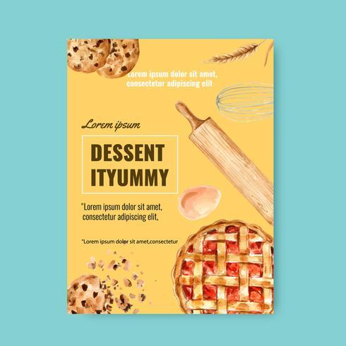 Plantilla de cartel de panadería. Recolección de pan y pan. Hecho en casa, diseño de ilustración vectorial acuarela creativa