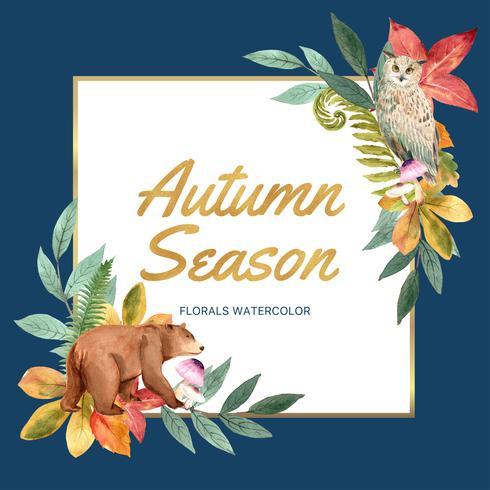Cadre de couronne de saison d'automne avec des feuilles et des animaux. Cartes de voeux automne parfait pour imprimer, invitation, modèle, conception créative illustration vectorielle aquarelle