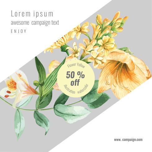 Spring social media frame fresh flowers, decor card with floral colorful garden, wedding, invitation, watercolor vector illustration design