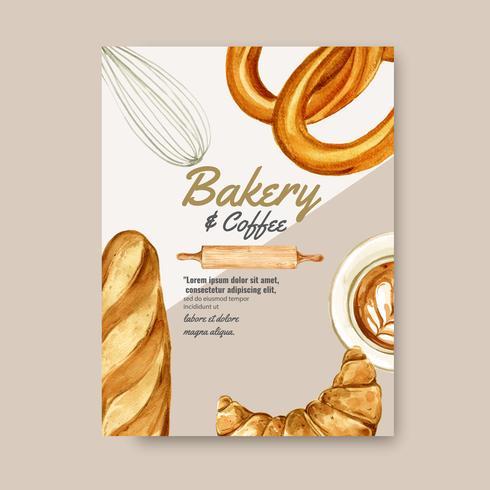 Modelo de cartaz de padaria. Coleção de pão e pão. feito em casa, design criativo da ilustração do vetor da aguarela