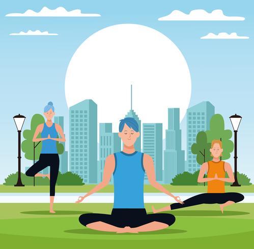 people doing yoga vector