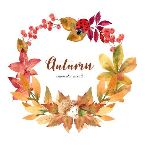 Herbstsaison-Kranzrahmen mit Blättern und Tier. Herbstgrußkarten perfekt für Druck, Einladung, Schablone, kreatives Aquarellvektor-Illustrationsdesign