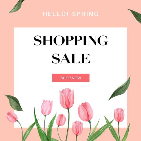 Quadro de mídia social de primavera flores frescas, cartão de decoração com jardim colorido floral, casamento, convite, design de ilustração vetorial aquarela