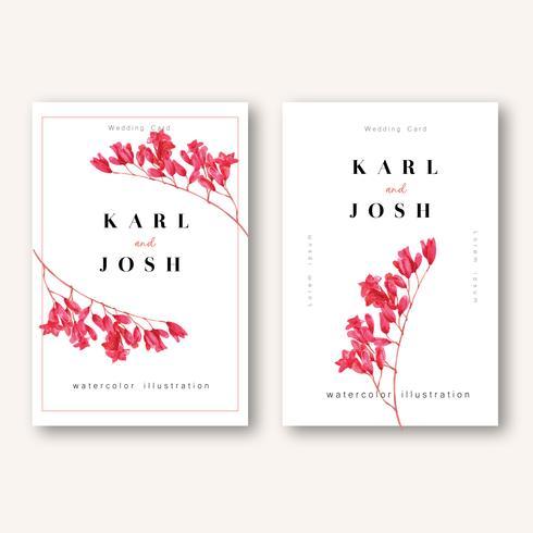Tarjeta de invitación de primavera con flores de arce y hojas. frescura botánica, tarjeta de agradecimiento, diseño de ilustración de vector de día de madre flor acuarela