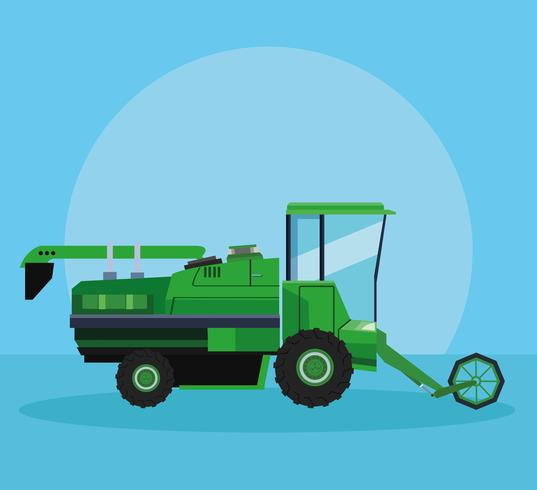 Farm seeding tractor vector