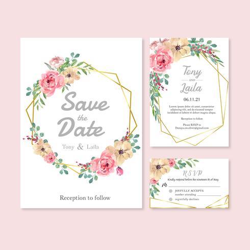 Boda feliz tarjeta floral de la invitación del jardín de la boda boda, detalle del rsvp. espacio diseño vintage ornamento hermoso, acuarela vector ilustración plantilla colección diseño