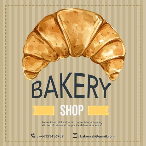 Bakery Social media template. Bread and bun collection. home made , creative watercolor vector illustration design