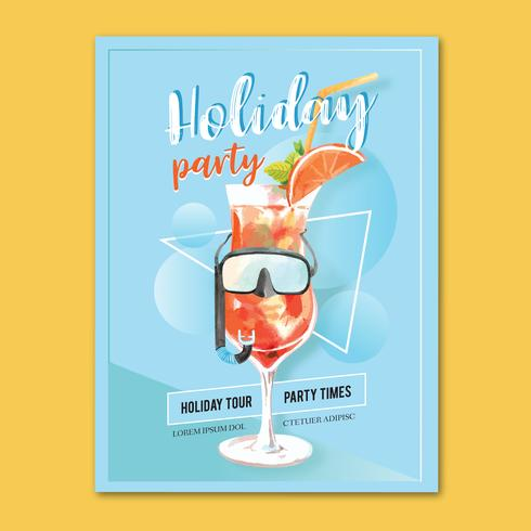 Travel on Holiday summer the beach Palm tree vacation, sea and sky sunlight , creative  watercolor vector illustration design