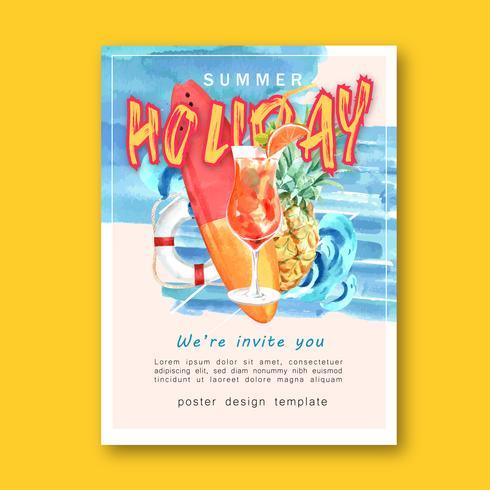 Resa på semestrar sommaren stranden Palm tree semester, hav och himmel solljus, kreativ akvarell vektor illustration design