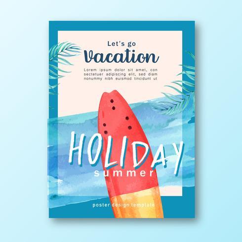 Voyage en été, vacances à la plage, vacances au palmier, mer et ciel, création illustration vectorielle aquarelle