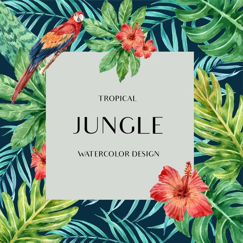 Tropical Frame border design summer with plants foliage exotic, creative watercolor vector illustration template design