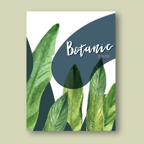 Tropical Poster design summer with plants foliage exotic, creative watercolor vector illustration template design