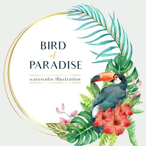 Diseño de remolino de corona tropical verano con plantas follaje exótico, creativo acuarela vector ilustración diseño de plantilla