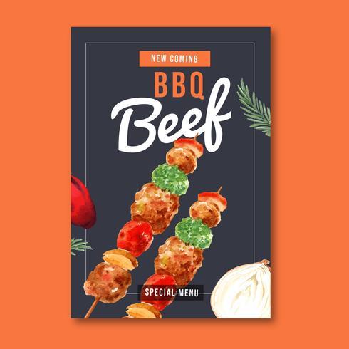 Design de cartaz de restaurante fast-food para decoração restaurante olhar comida apetitosa, design de modelo, design criativo de ilustração vetorial aquarela